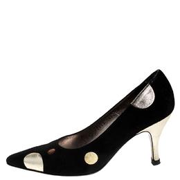 Salvatore Ferragamo Black Suede And Metallic Gold Circle Pointed Toe Pumps Size 36.5 251712