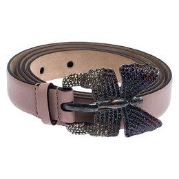 Valentino Cedar Brown Leather Crystal Embellished Butterfly Buckle Belt 85cm 251628