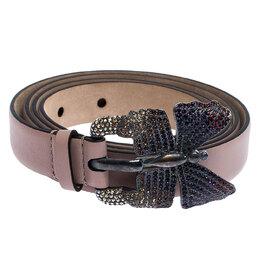 Valentino Beige Leather Crystal Embellished Butterfly Buckle Belt 95 CM 251630