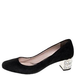 Miu Miu Black Suede Crystal Heel Pumps Size 38 251731