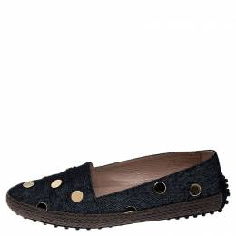 Tod's Dark Wash Denim Studded Espadrille Flats Size 38 251609