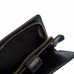 Coach Black Leather Compact Wallet