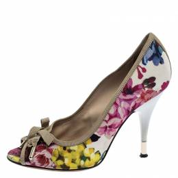 D and G Multicolor Floral Printed Fabric Bow Peep Toe Pumps 37 Dandg 250113