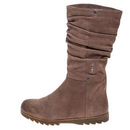 Prada Sport Beige Textured Nubuck Slouch Mid Calf Flat Boots Size 38 250117