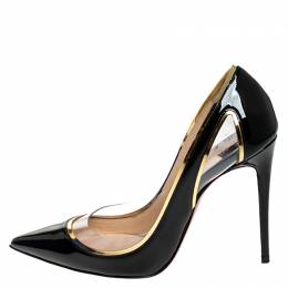 Christian Louboutin Black Patent Leather And PVC Cosmo Pointed Toe Pumps Size 35 250102