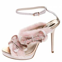 Sophia Webster Pink Faux Fur And Leather Bella Bow Embellished Ankle Strap Sandals Size 40 250213