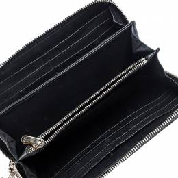 Dior Black Cannage Quilted Patent Leather Zip Around Lady Dior Wallet 249901