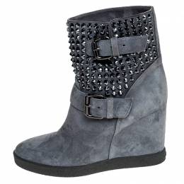 Le Silla Ash Blue Studded Suede Buckle Wedge Boots Size 38 249860