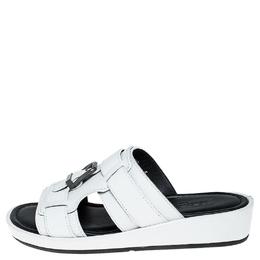 Dolce&Gabbana White Leather Buckle Platform Slide Sandals Size 39 251566