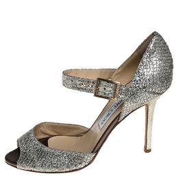 Jimmy Choo Silver/Gold Glitter Fabric Mary Jane Pumps Size 37.5
