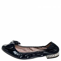 Miu Miu Blue Patent Leather Bow Detail Crystal Embellished Heel Scrunch Ballet Flats Size 35 251744