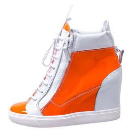 Giuseppe Zanotti Design Orange/White Patent Leather Hidden Wedge Sneakers Size 38.5 249884