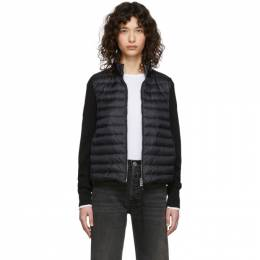 Moncler Black Down Knit Zip-Up Jacket F10939B50400A9001