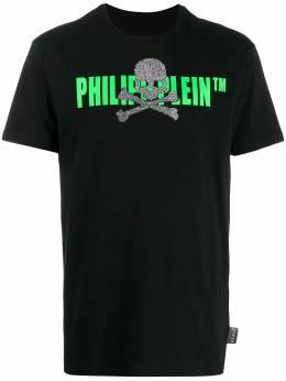 Philipp Plein футболка с декором Skull и логотипом S20CMTK4249PJY002N