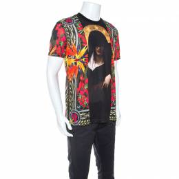 Givenchy Black Maria Pattern Printed Jersey Crew Neck T-shirt S 251710