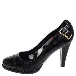 Burberry Black Leather Buckle Detail Pumps Size 41 252366