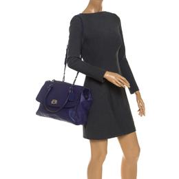 Coach Purple Leather Turn Lock Shoulder Bag 251037