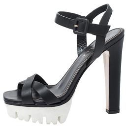 Le Silla Black Cross Strap Leather Platform Sandals Size 37 252087