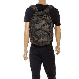 Alexander McQueen Green Camouflage Nylon Dancing Skeleton Backpack 250557