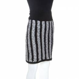 Chanel Monochrome Crochet Knit Geometric Textured Skirt S