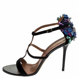 Malone Souliers Black Strappy Suede Floral Embellished Open Toe Sandals Size 41 251733