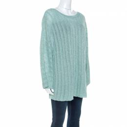 Zadig & Voltaire Mint Green Flint Pointelle Knit Crl Sweater L 250838