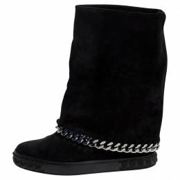 Casadei Black Suede Chain Wedge Boots Size 38 251051