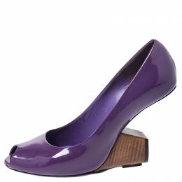 Marc Jacobs Purple Patent Leather Peep Toe Reverse Heel Pumps Size 38 251878