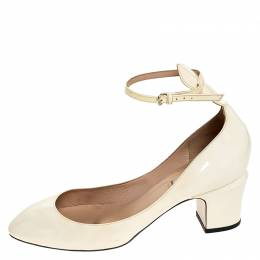 Valentino White Patent Leather Tango Ankle Strap Pumps Size 39.5 252198