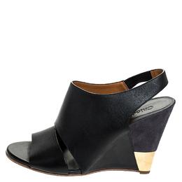 Chloe Black Leather Eliza Wedge Slingback Sandals Size 39.5 252190