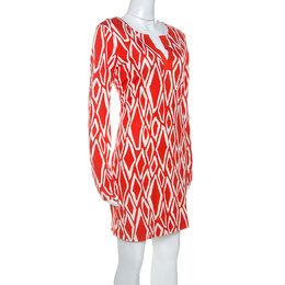 Diane Von Furstenberg Coral Red Ikat Print Silk Reina Long Sleeve Dress L 252192
