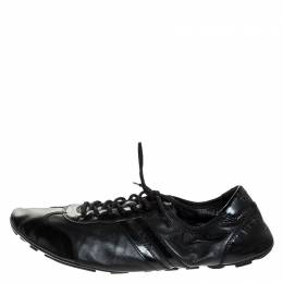 Prada Black Leather and Patent Leather Lace Up Sneakers Size 41 251668