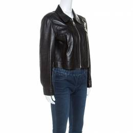 Louis Vuitton Black Leather Cropped Zip Front Jacket M 250860