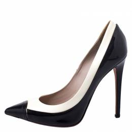 Le Silla Black/White Patent Leather Pointed Toe Pumps Size 38 250918