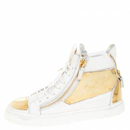 Giuseppe Zanotti Design White Leather Metal Embellished Double Chain High Top Sneakers Size 41
