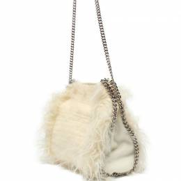Stella McCartney White Fur Falabella Shoulder Bag