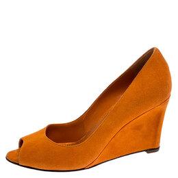 Sergio Rossi Orange Suede Peep Toe Wedge Pumps Size 36.5 252210