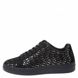 Alaia Black/Silver Laser Cut Suede Low Top Sneakers Size 38 252205