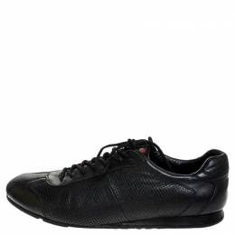 Prada Sport Black Perforated Leather Lace Up Low Top Sneakers Size 41.5 252204