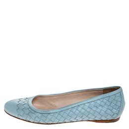 Bottega Veneta Blue Intrecciato Leather Ballet Flats Size 38 251648