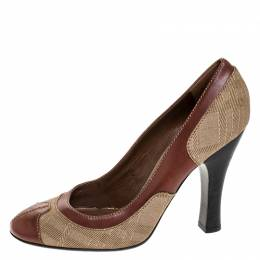 Burberry Brown/Beige Leather and Canvas Wooden Heel Pumps Size 40 251647