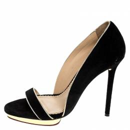 Charlotte Olympia Black Suede Christine Open Toe Sandals Size 38.5 251640
