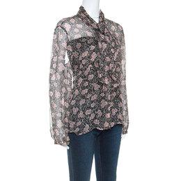 Giorgio Armani Black and Pink Floral Print Sheer Silk Blouse L 251796