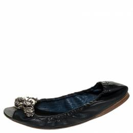 Miu Miu Blue Leather Crystal Embellished Open Toe Scrunch Ballet Flats Size 36.5 250872