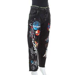 Dolce&Gabbana Black Denim Embroidered Boyfriend Jeans L