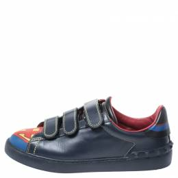 Valentino Blue/Red Leather Super H Low Top Sneakers Size 41 250866