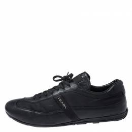 Prada Black Leather and Nylon Trainers Sneakers Size 42 251690