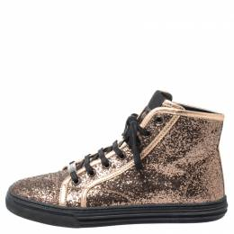 Gucci Rose Gold Glitter California High Top Sneakers Size 38 252050