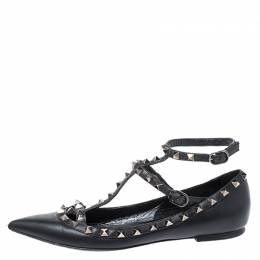 Valentino Black Leather Rockstud Cage Ballet Flats Size 38 250505