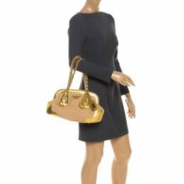 Prada Metallic Gold Straw and Leather Frame Bag 250968